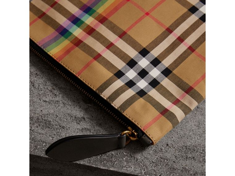 Large Rainbow Vintage Check Pouch in Dark Grey | Burberry - cell image 1