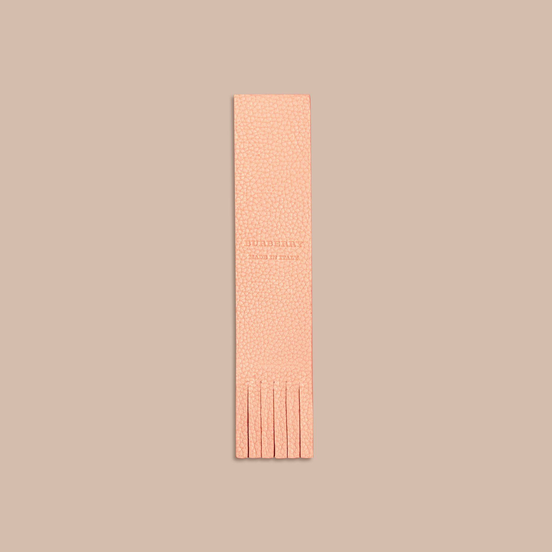Pink apricot Fringe Detail Grainy Leather Bookmark - gallery image 4