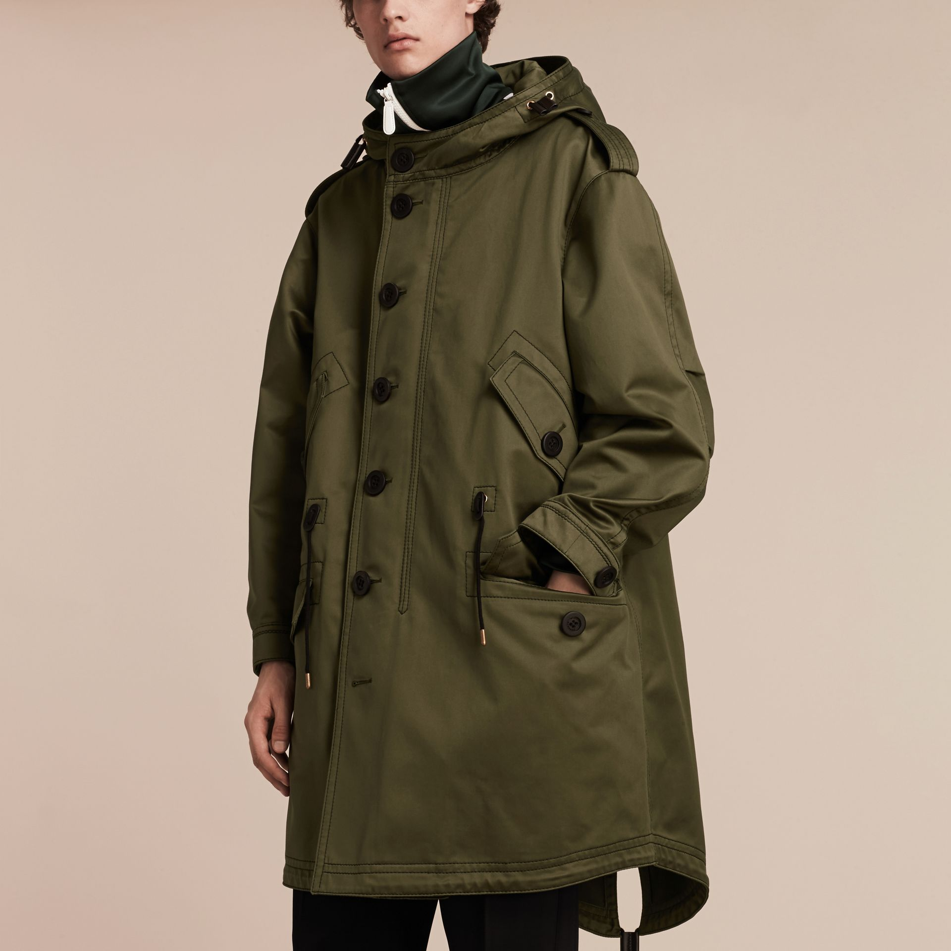 Military green Shearling Lined Cotton Canvas Parka - gallery image 6