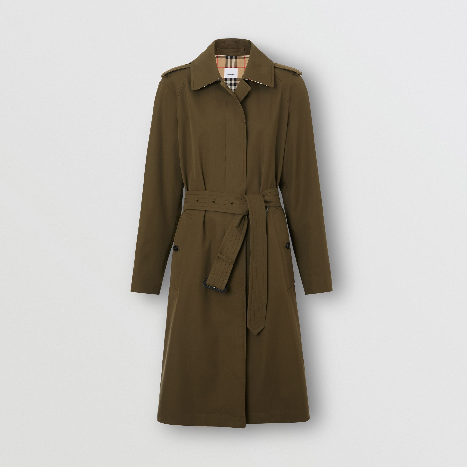 Tropical Gabardine Belted Car Coat in Dark Military Khaki - Women | Burberry - gallery image 3