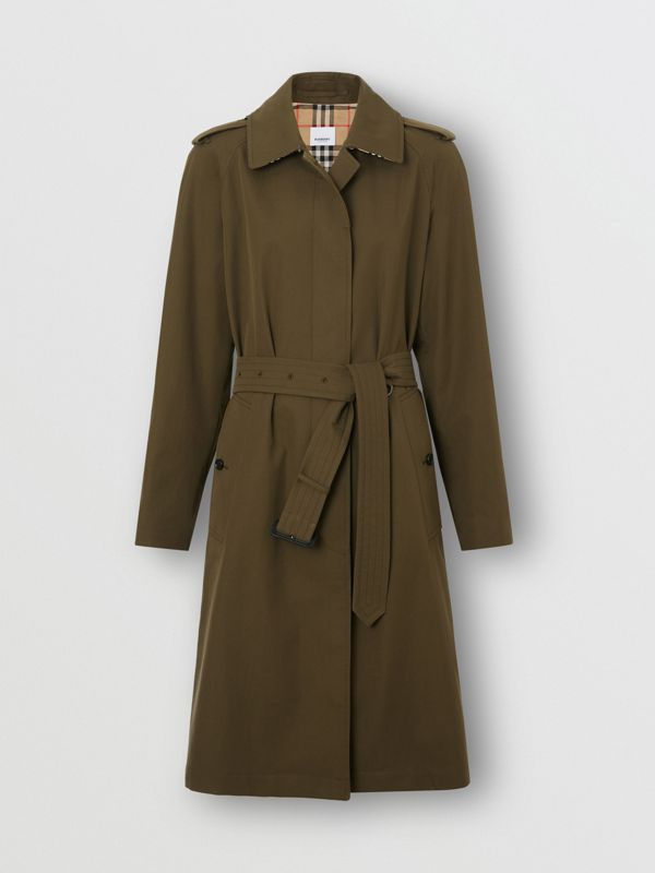 Tropical Gabardine Belted Car Coat in Dark Military Khaki - Women | Burberry - cell image 3