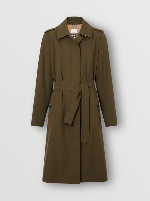 Tropical Gabardine Belted Car Coat in Dark Military Khaki - Women | Burberry United Kingdom - cell image 3