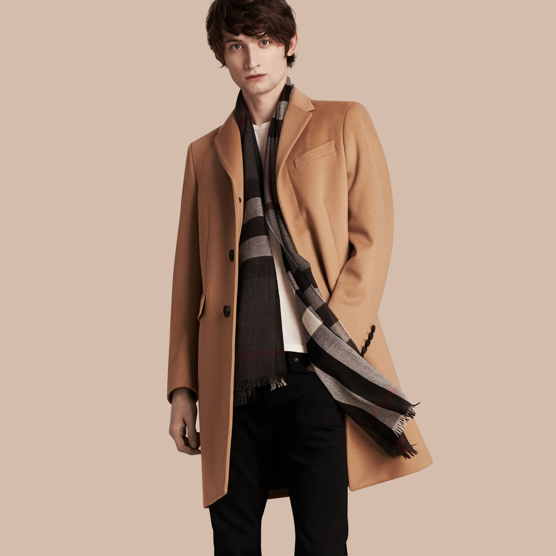 Camel Wool Cashmere Tailored Coat Camel - gallery image 1