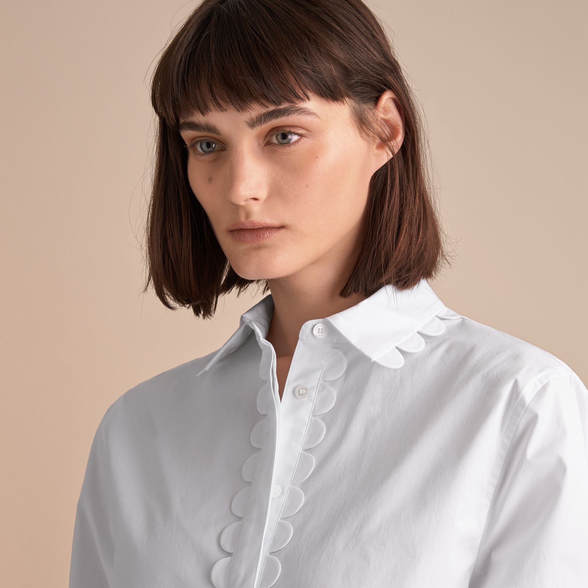 Scalloped Stretch Cotton Shirt - gallery image 5