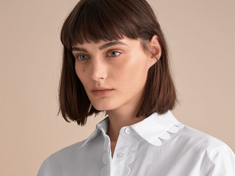 Scalloped Stretch Cotton Shirt - cell image 4