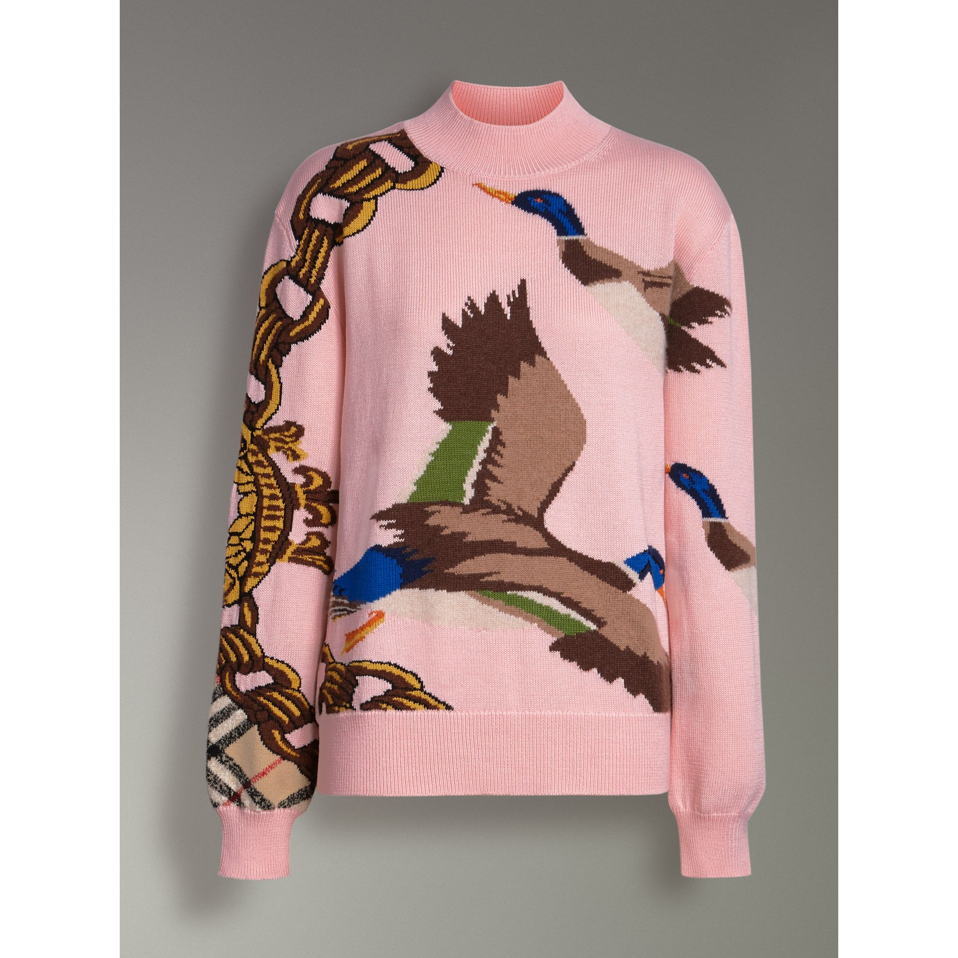 Duck Intarsia Cotton Cashmere Wool Sweater in Pale Pink - Women | Burberry Singapore - gallery image 3