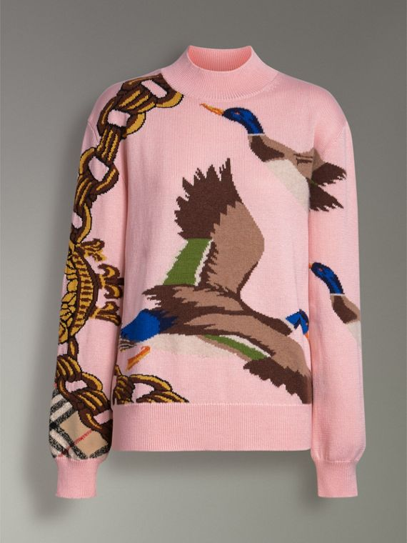 Duck Intarsia Cotton Cashmere Wool Sweater in Pale Pink - Women | Burberry - cell image 3