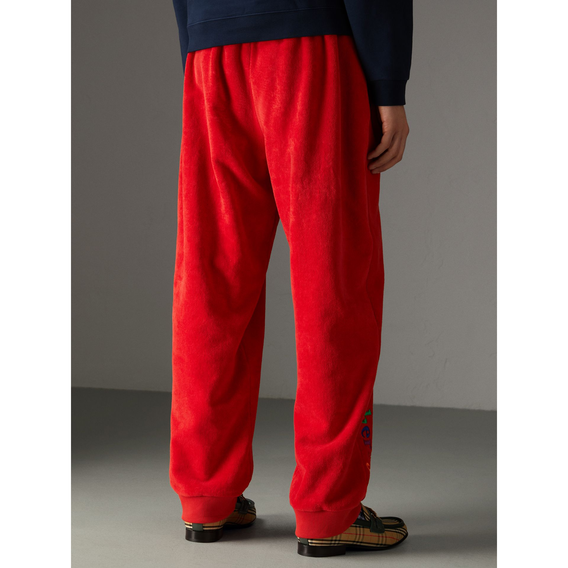 Archive Logo Towelling Sweatpants in Bright Red | Burberry - gallery image 2