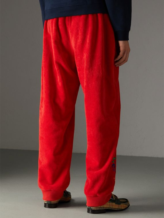 Archive Logo Towelling Sweatpants in Bright Red | Burberry - cell image 2