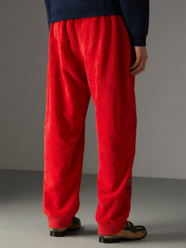 Archive Logo Towelling Sweatpants in Bright Red | Burberry United States - cell image 2