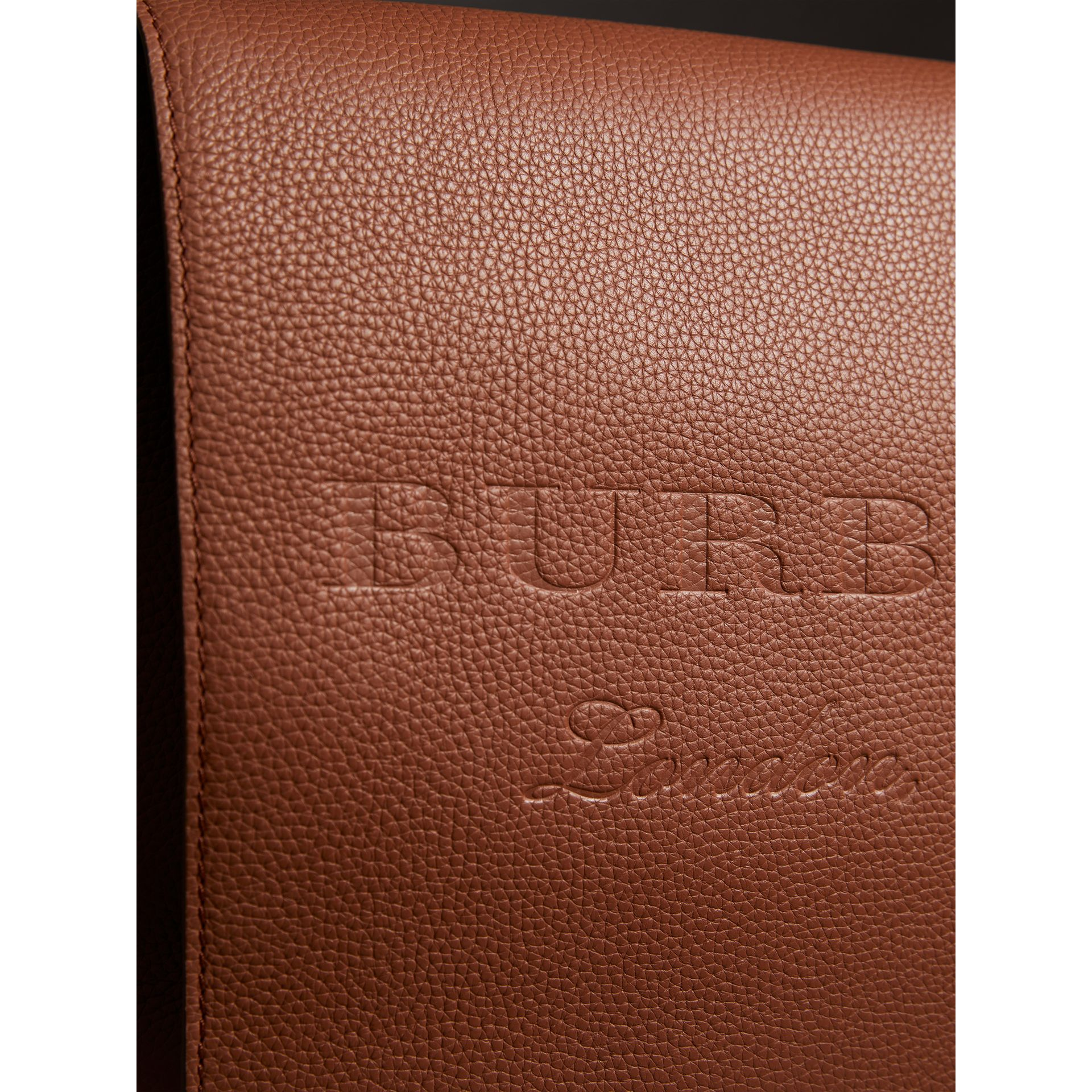 Large Embossed Leather Messenger Bag in Chestnut Brown | Burberry - gallery image 2