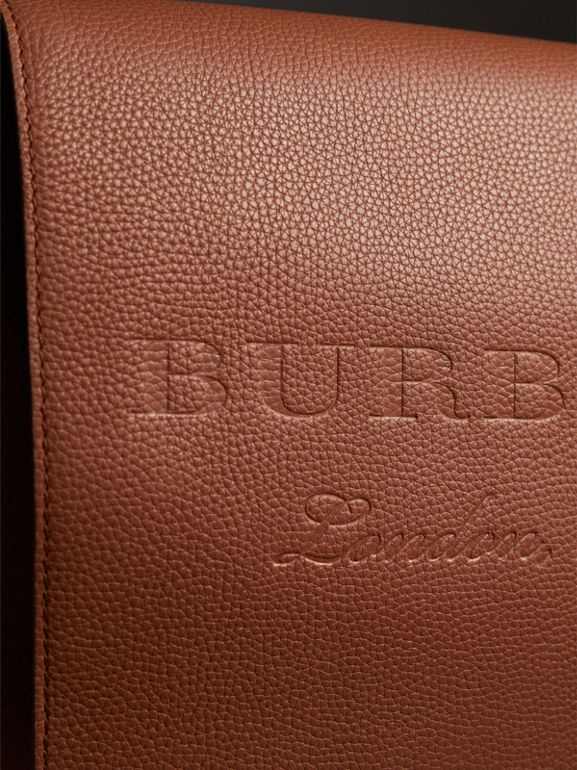 Large Embossed Leather Messenger Bag in Chestnut Brown | Burberry - cell image 1