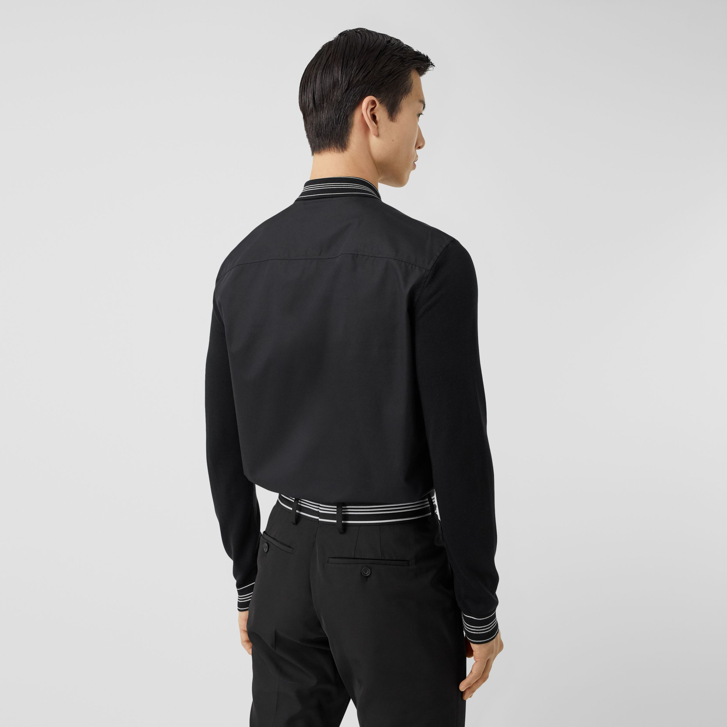 Silk Detail Logo Embroidered Cotton Poplin Shirt in Black - Men | Burberry - 3