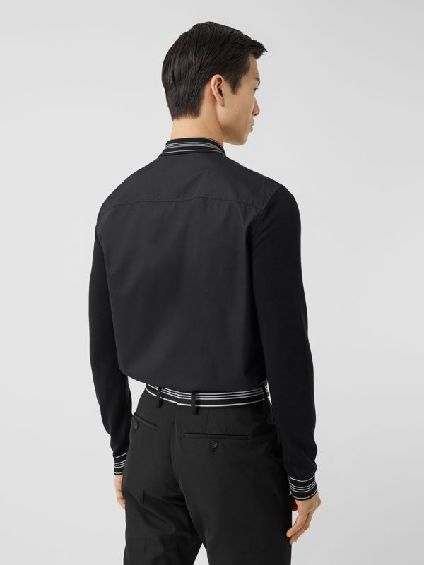 Silk Detail Logo Embroidered Cotton Poplin Shirt in Black - Men | Burberry - cell image 2