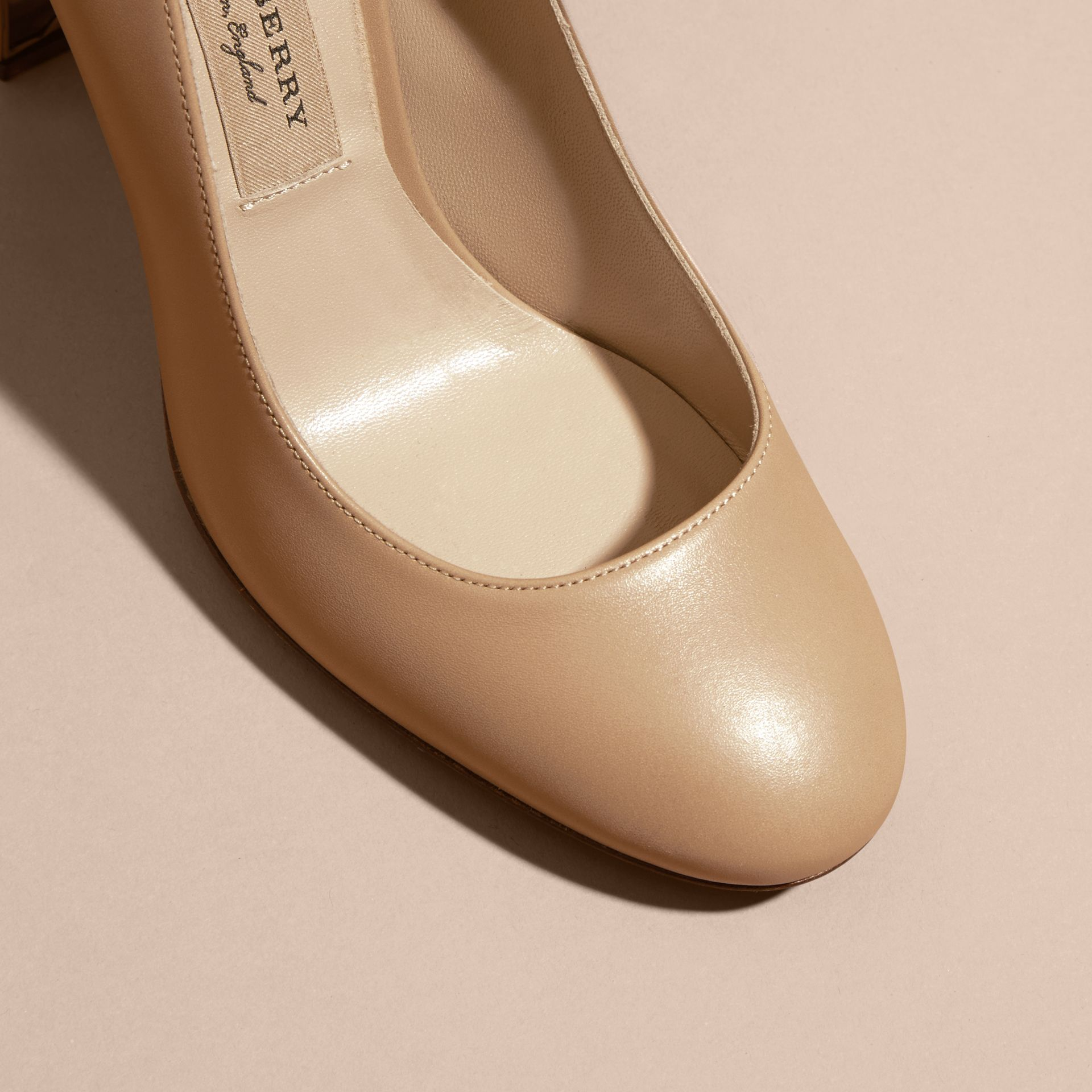 Light nude Check Heel Leather Pumps Light Nude - gallery image 2