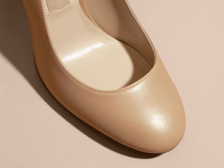 Light nude Check Heel Leather Pumps Light Nude - cell image 1