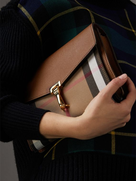 Small Leather and House Check Crossbody Bag in Tan - Women | Burberry - cell image 2