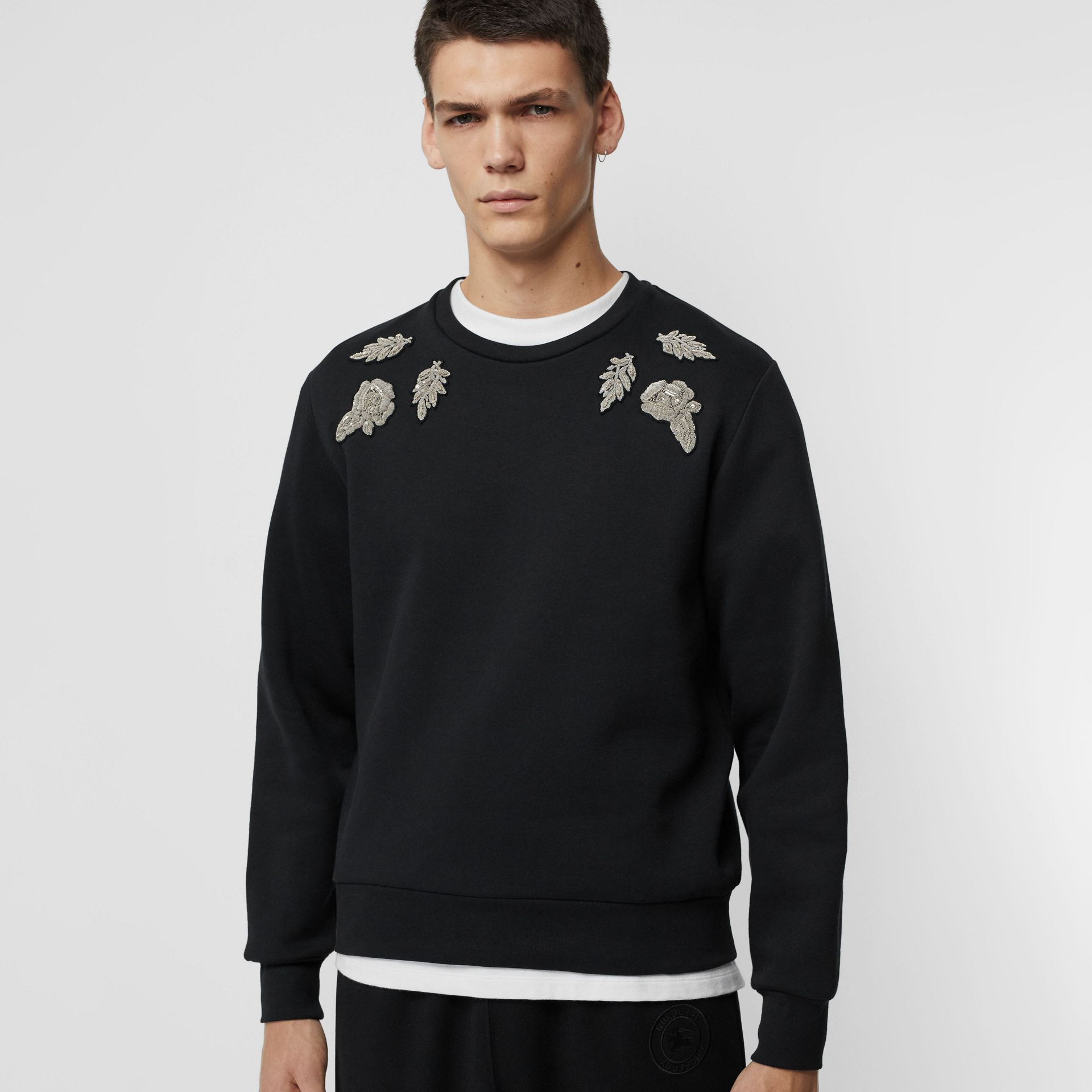Bullion Floral Cotton Blend Sweatshirt in Black - Men | Burberry - gallery image 4