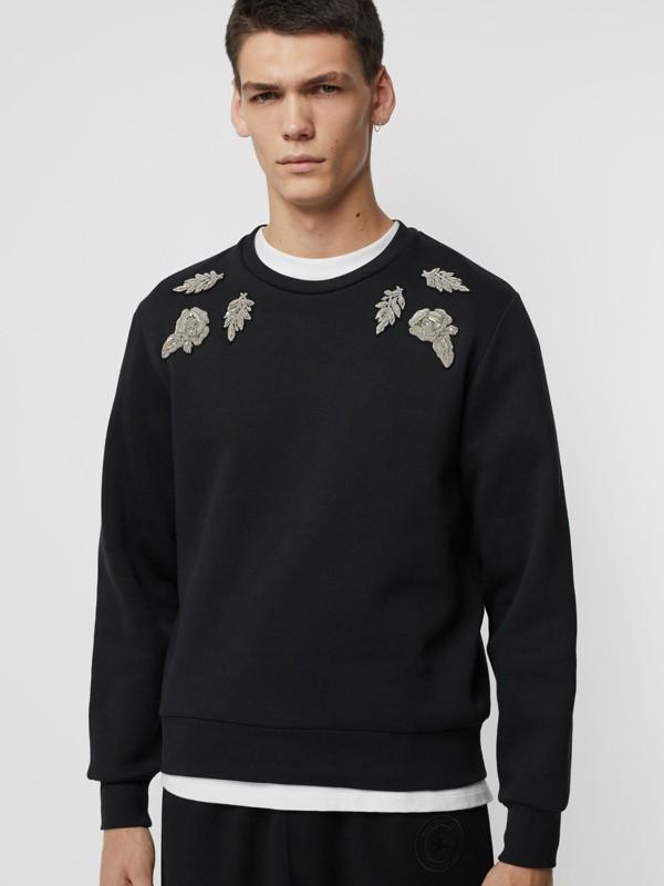 Bullion Floral Cotton Blend Sweatshirt in Black - Men | Burberry - cell image 3