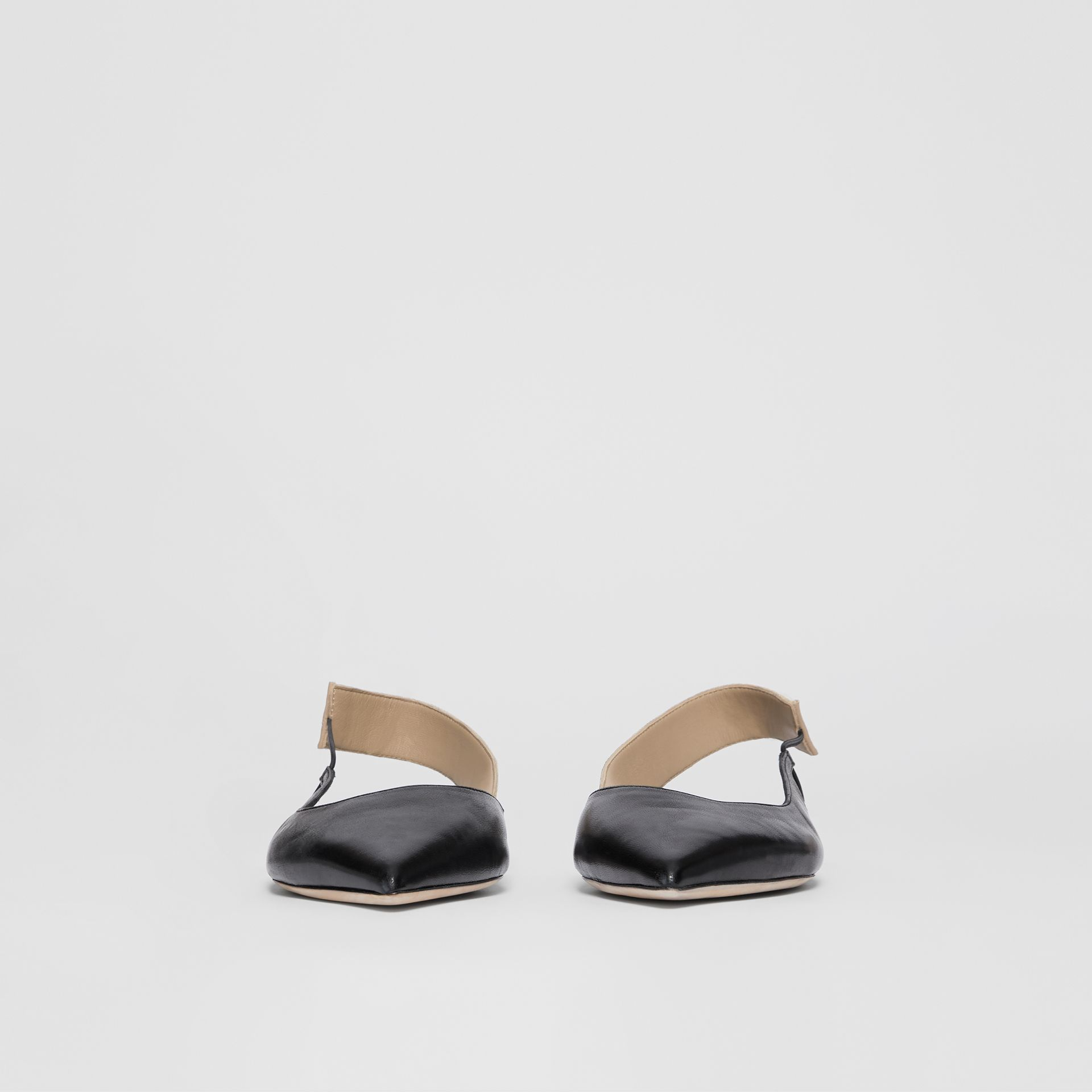 Logo Detail Leather Slingback Flats in Black - Women | Burberry United Kingdom - gallery image 3