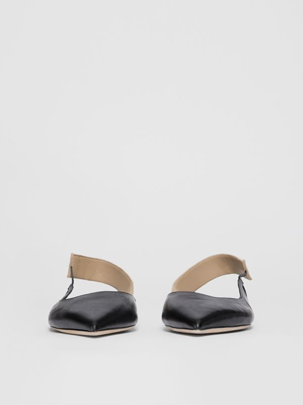 Logo Detail Leather Slingback Flats in Black - Women | Burberry - cell image 2