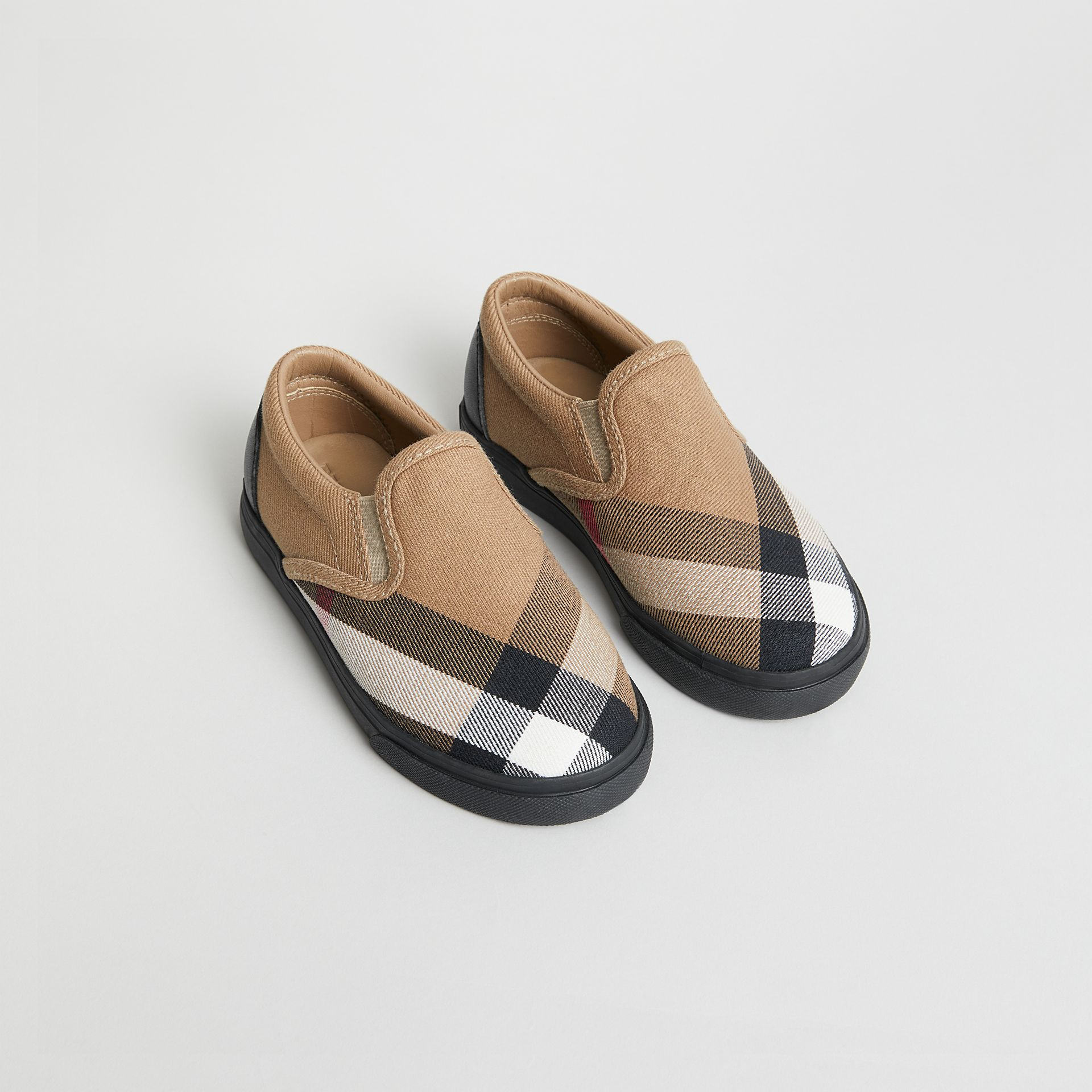 House Check and Leather Slip-on Sneakers in Classic/black | Burberry United Kingdom - gallery image 0