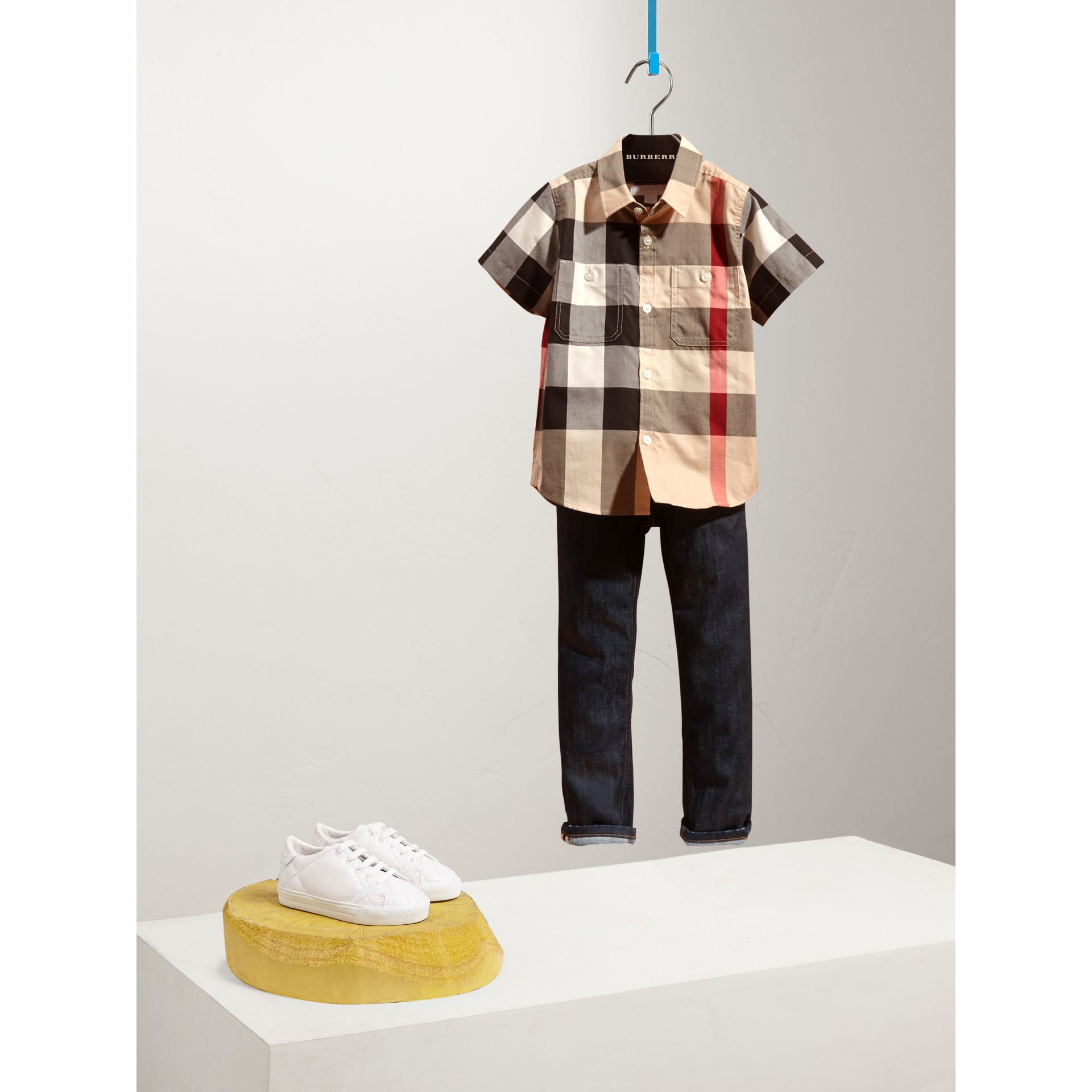 Short-sleeve Check Cotton Shirt in New Classic - Boy | Burberry - gallery image 0