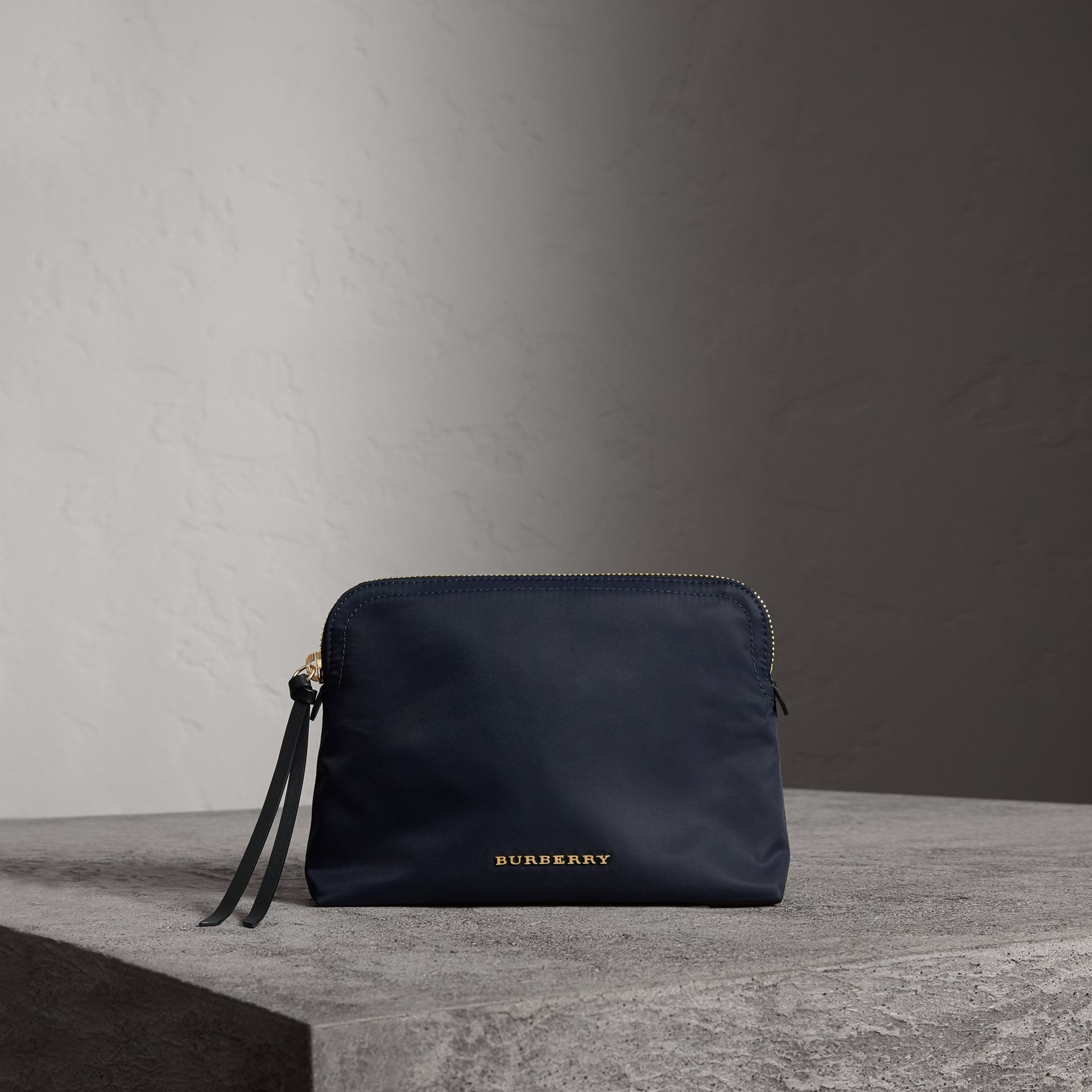 Large Zip-top Technical Nylon Pouch in Ink Blue - Women | Burberry - gallery image 0