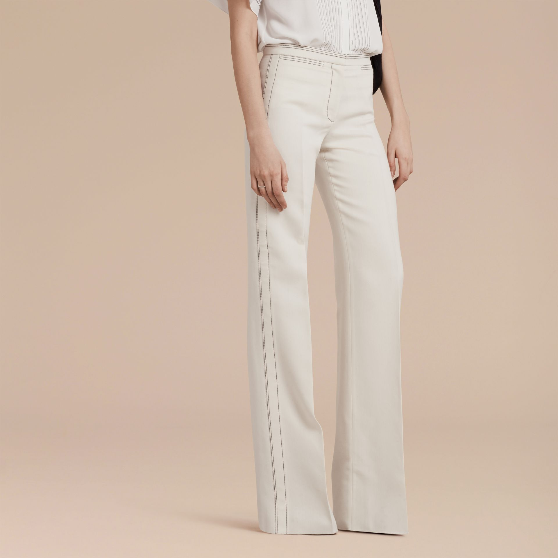 White Wool Silk Wide Leg Trousers - gallery image 6