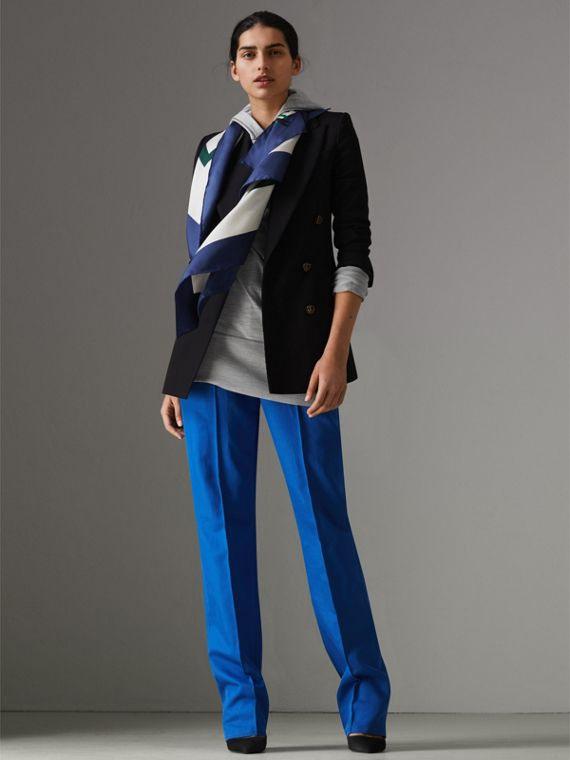 Scribble Archive Crest Silk Square Scarf in Bright Navy | Burberry Canada - cell image 2