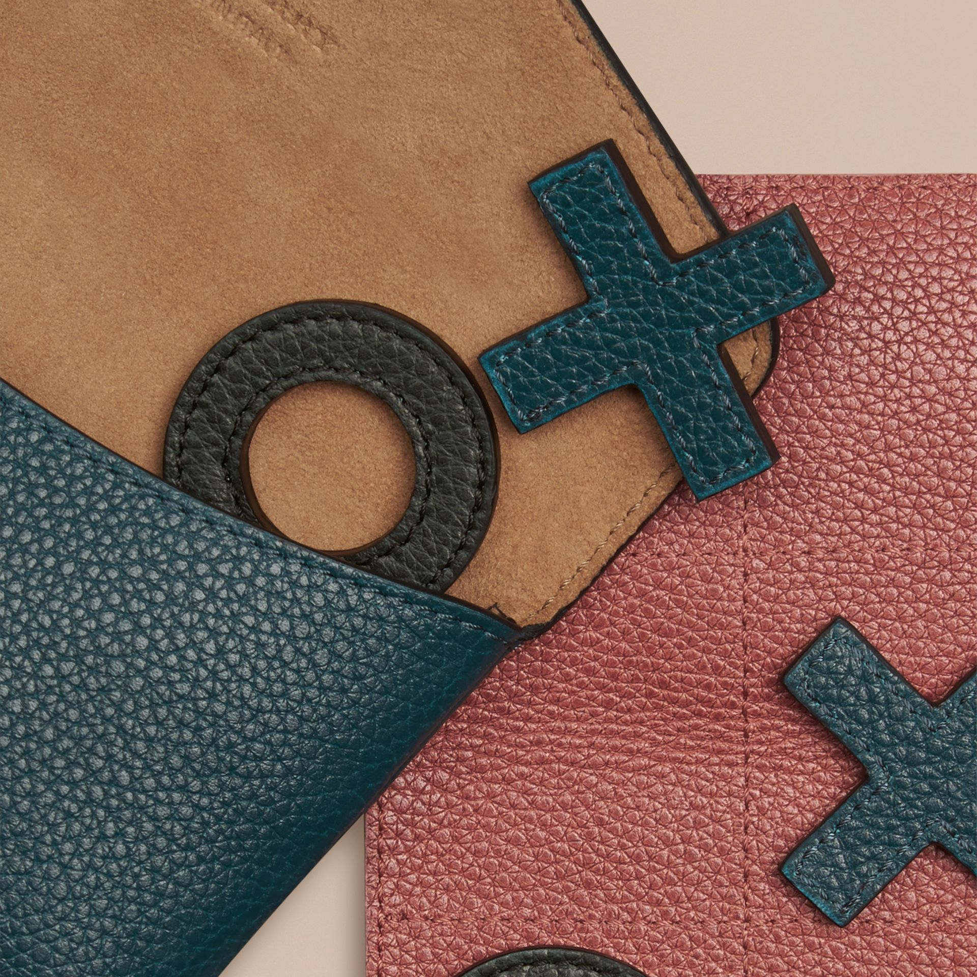 Dusty teal Leather Noughts and Crosses Set and Case - gallery image 2