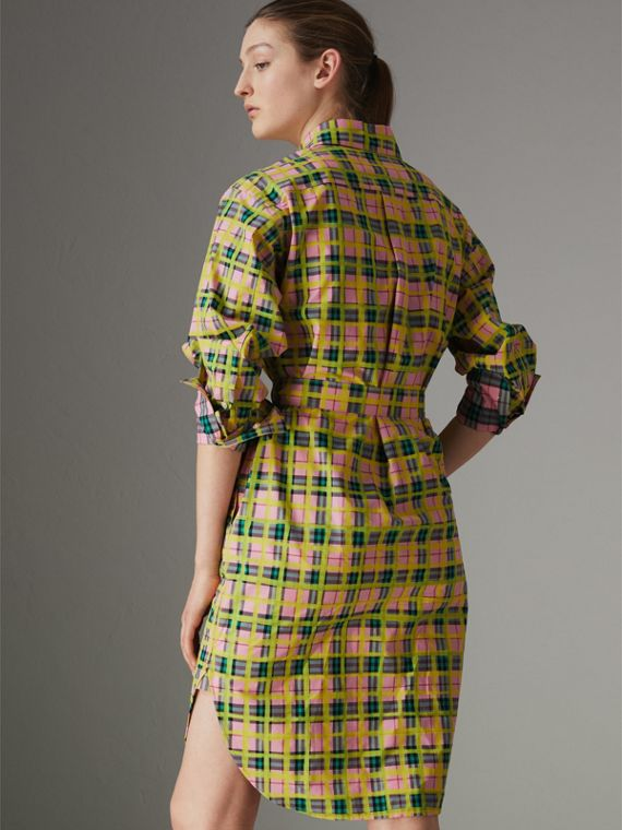 Painted Check Cotton Tie-waist Shirt Dress in Bright Coral Pink - Women | Burberry - cell image 2
