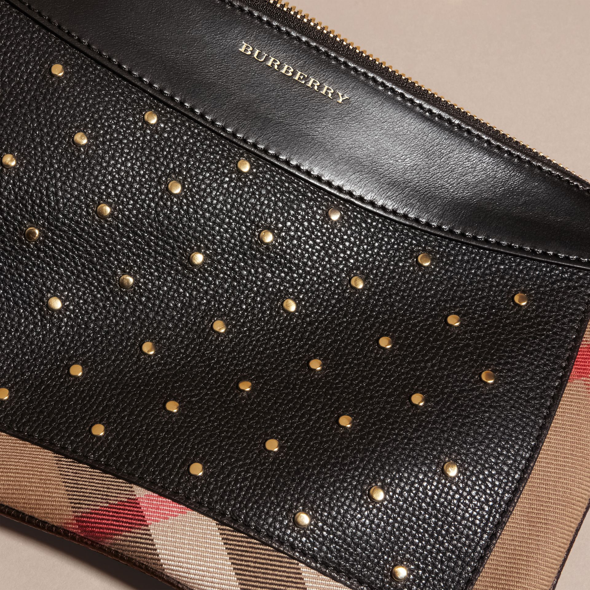 Riveted Leather and House Check Clutch Bag in Black - gallery image 2