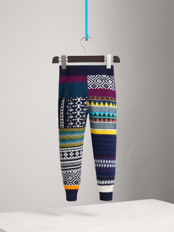 Fair Isle Wool Cashmere Patchwork Sweatpants in Navy | Burberry United Kingdom - cell image 3
