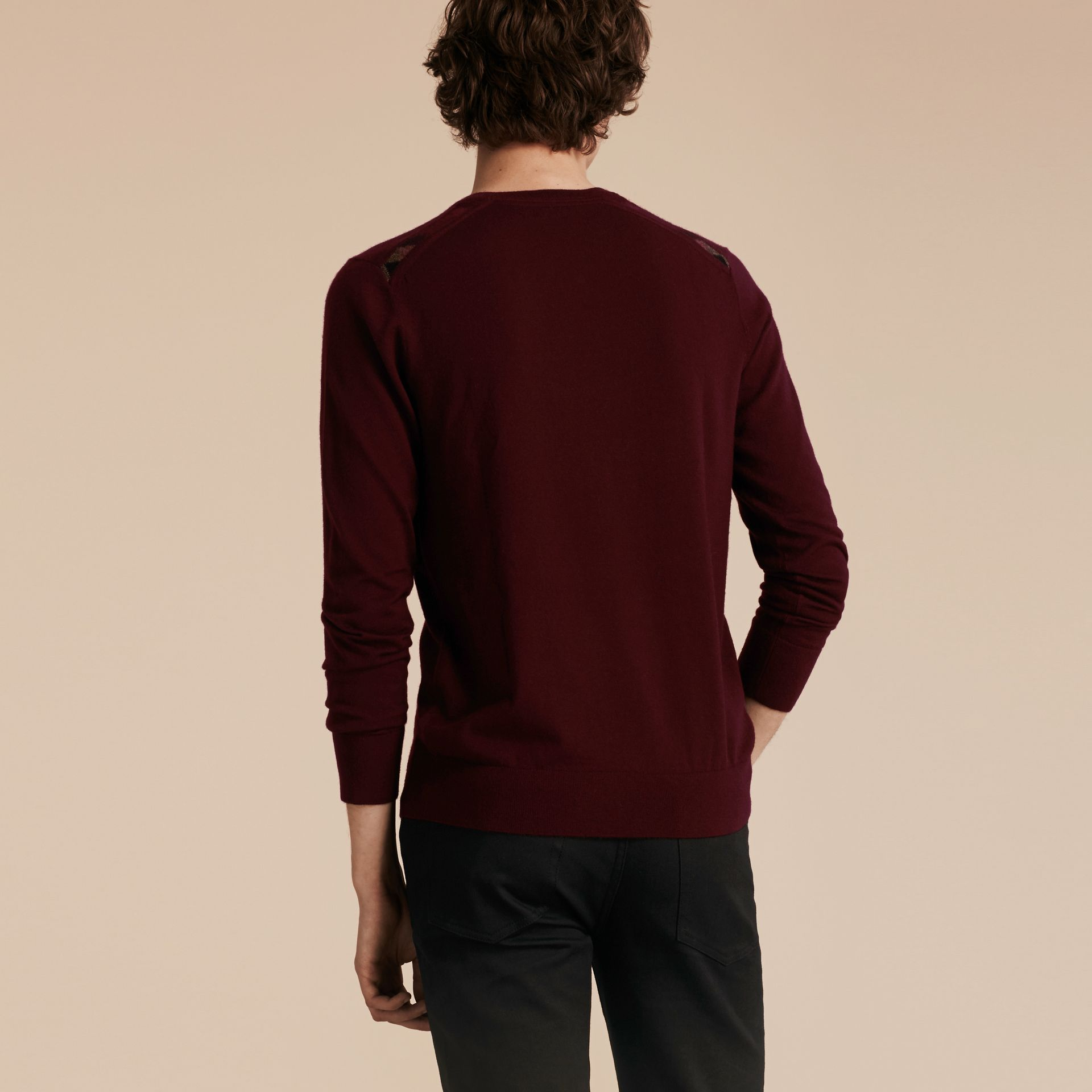 Deep claret Lightweight Crew Neck Cashmere Sweater with Check Trim Deep Claret - gallery image 3