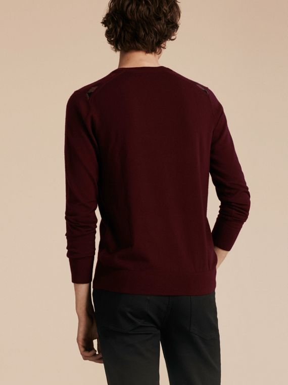 Lightweight Crew Neck Cashmere Sweater with Check Trim in Deep Claret - Men | Burberry Australia - cell image 2