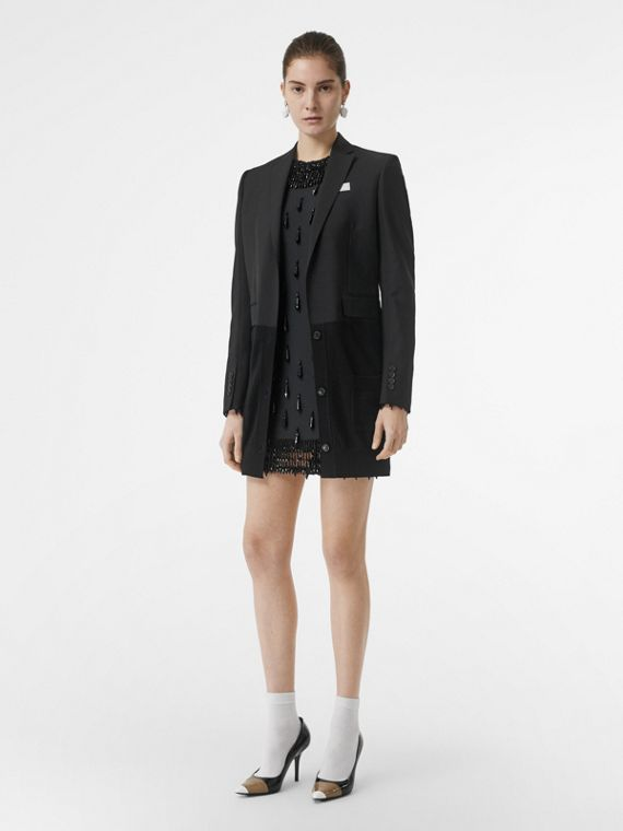 Cashmere Panel Wool Mohair Tailored Jacket in Black