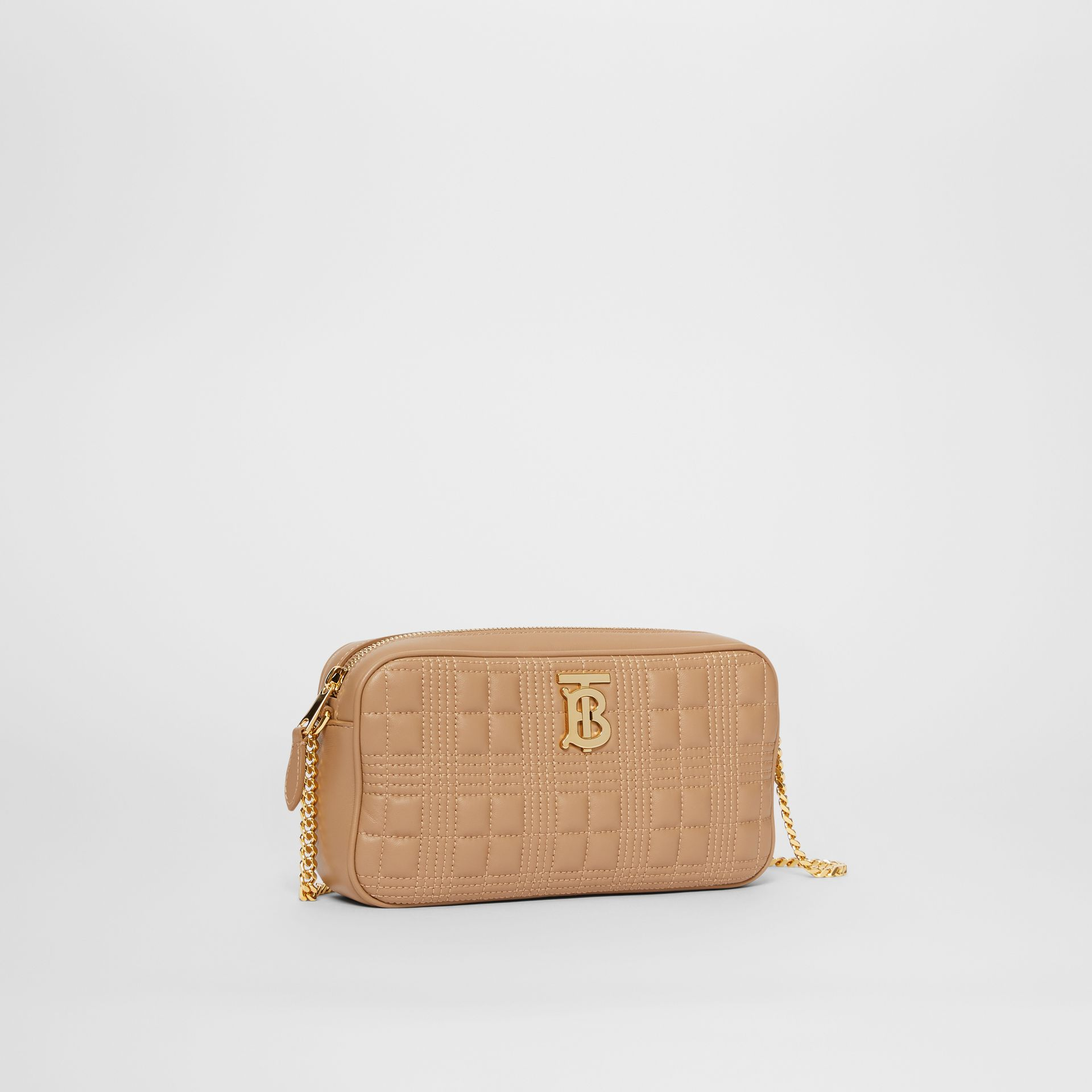 Quilted Check Lambskin Camera Bag in Camel - Women | Burberry - gallery image 6