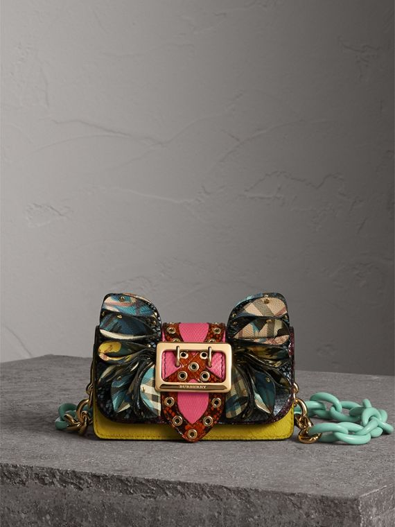 The Ruffle Buckle Bag in Snakeskin, Calfskin and Check in Garnet Pink