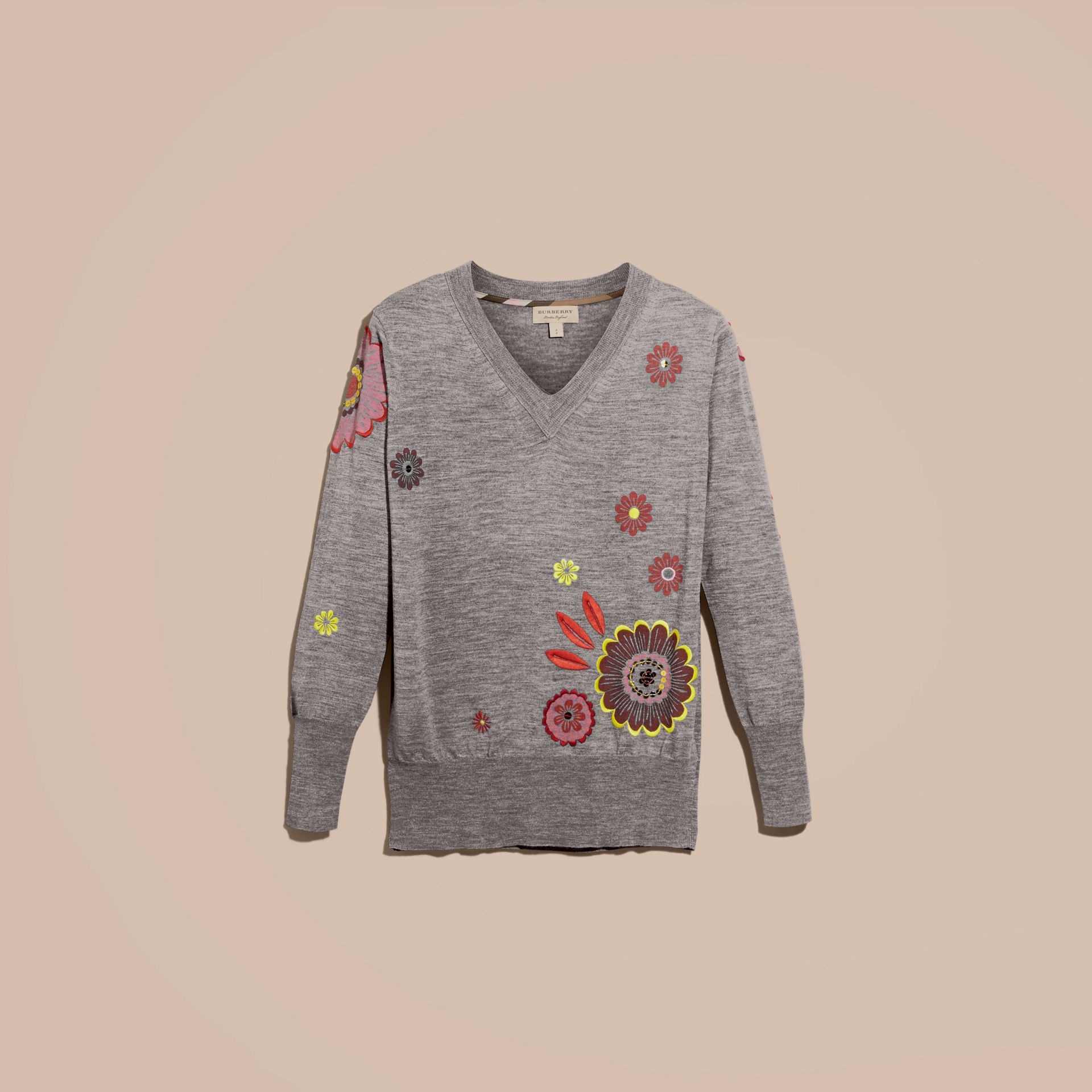 Mid grey melange Floral Embellished Merino Wool V-neck Sweater - gallery image 4