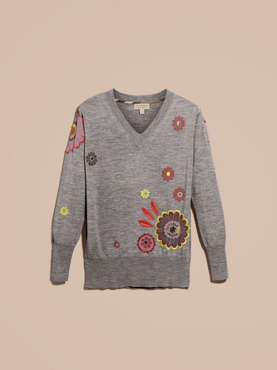 Mid grey melange Floral Embellished Merino Wool V-neck Sweater - cell image 3