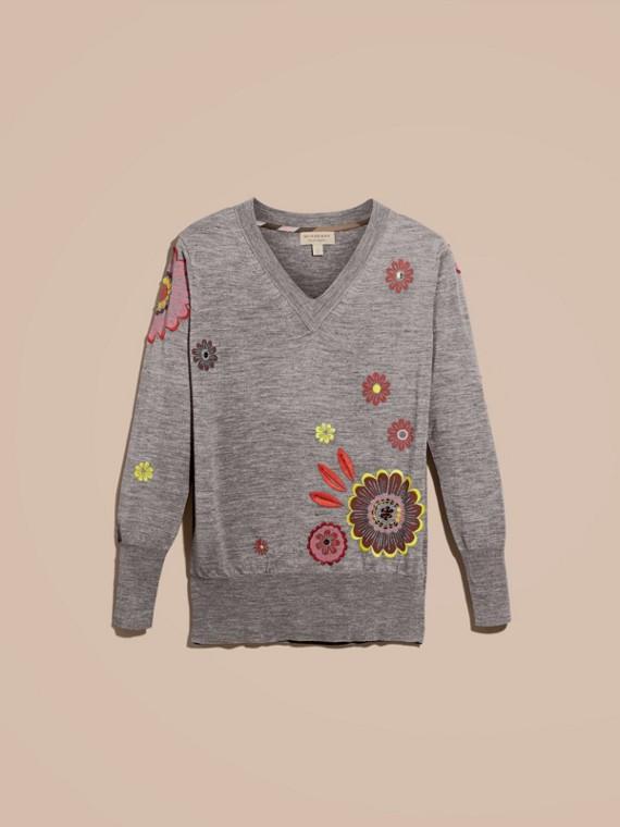 Grigio medio mélange Pullover in lana Merino con scollo a V e decorazione floreale - cell image 3