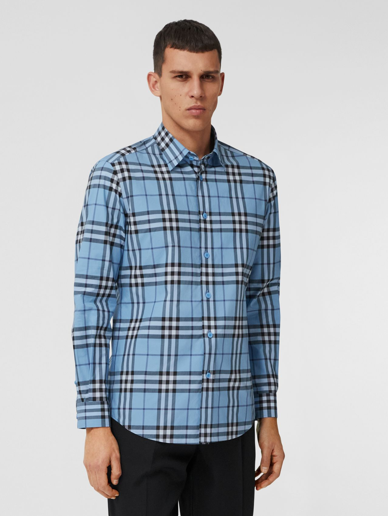 Check Cotton Poplin Shirt in Vivid Cobalt