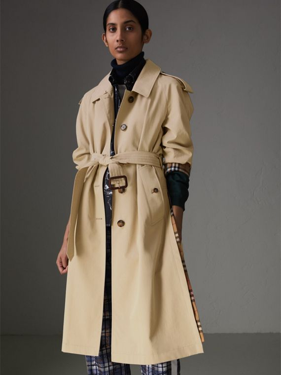 Side-slit Tropical Gabardine Trench Coat in Oatmeal