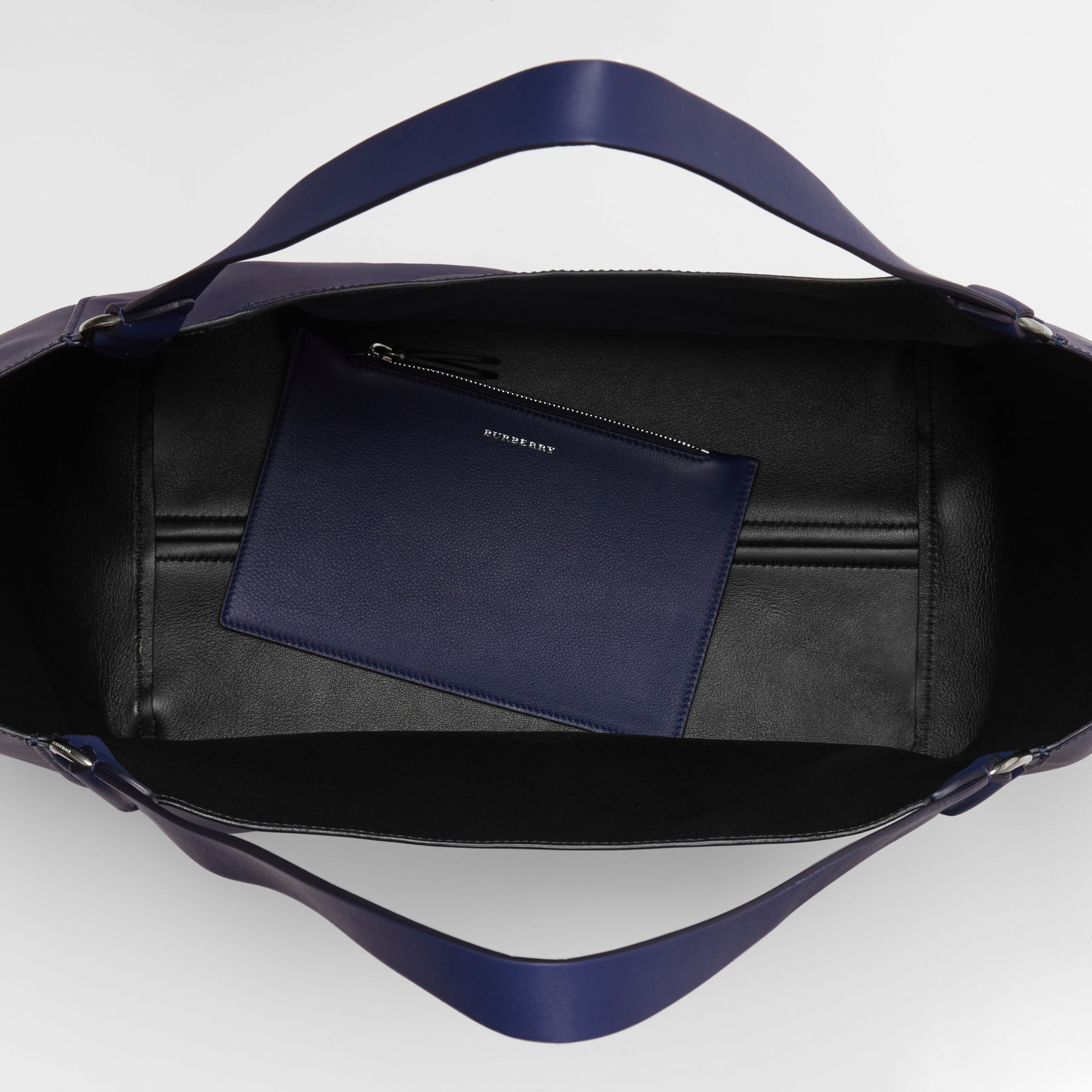 Large Embossed Crest Bonded Leather Tote in Regency Blue - Men | Burberry - gallery image 5