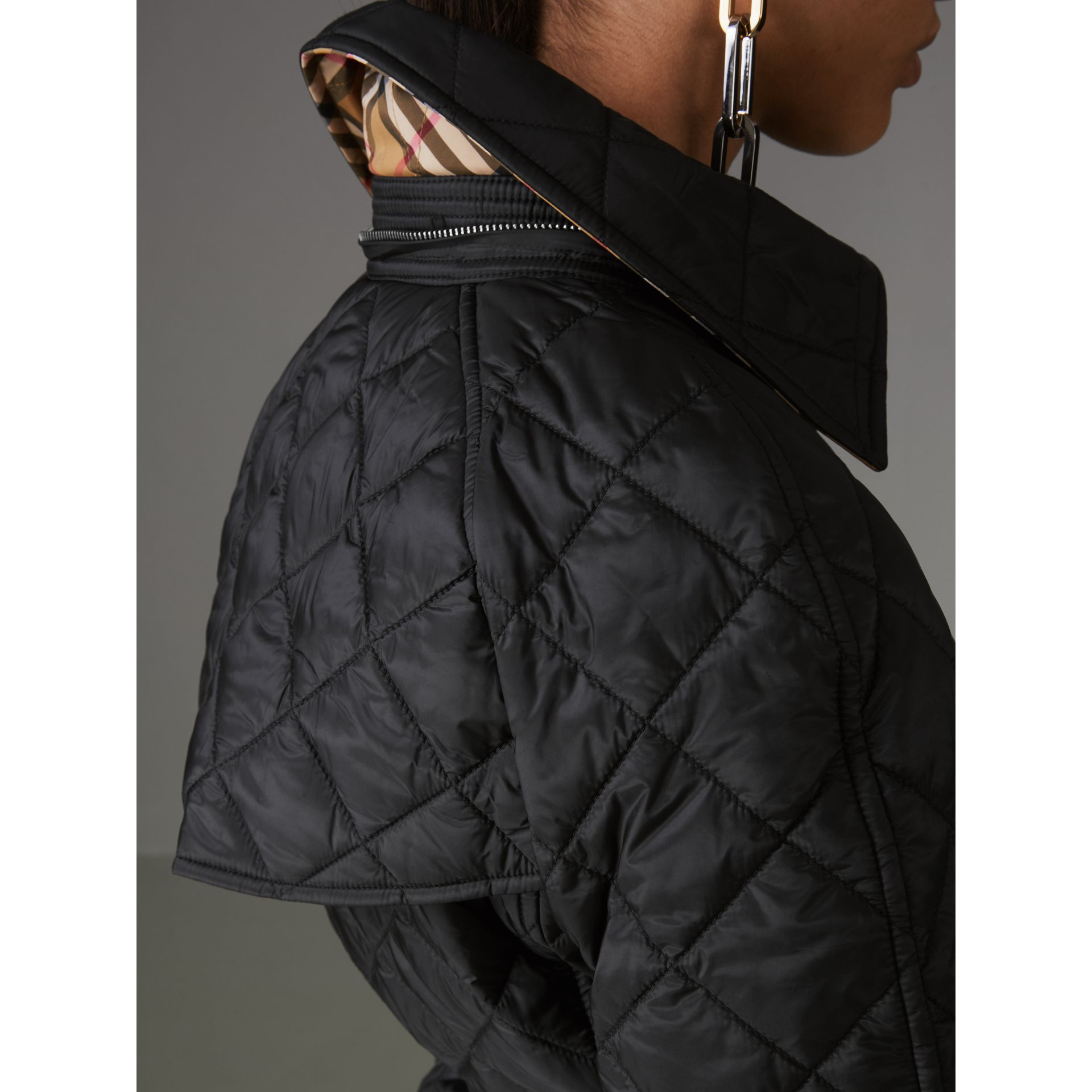 Detachable Hood Lightweight Diamond Quilted Coat in Black - Women | Burberry United States - gallery image 5