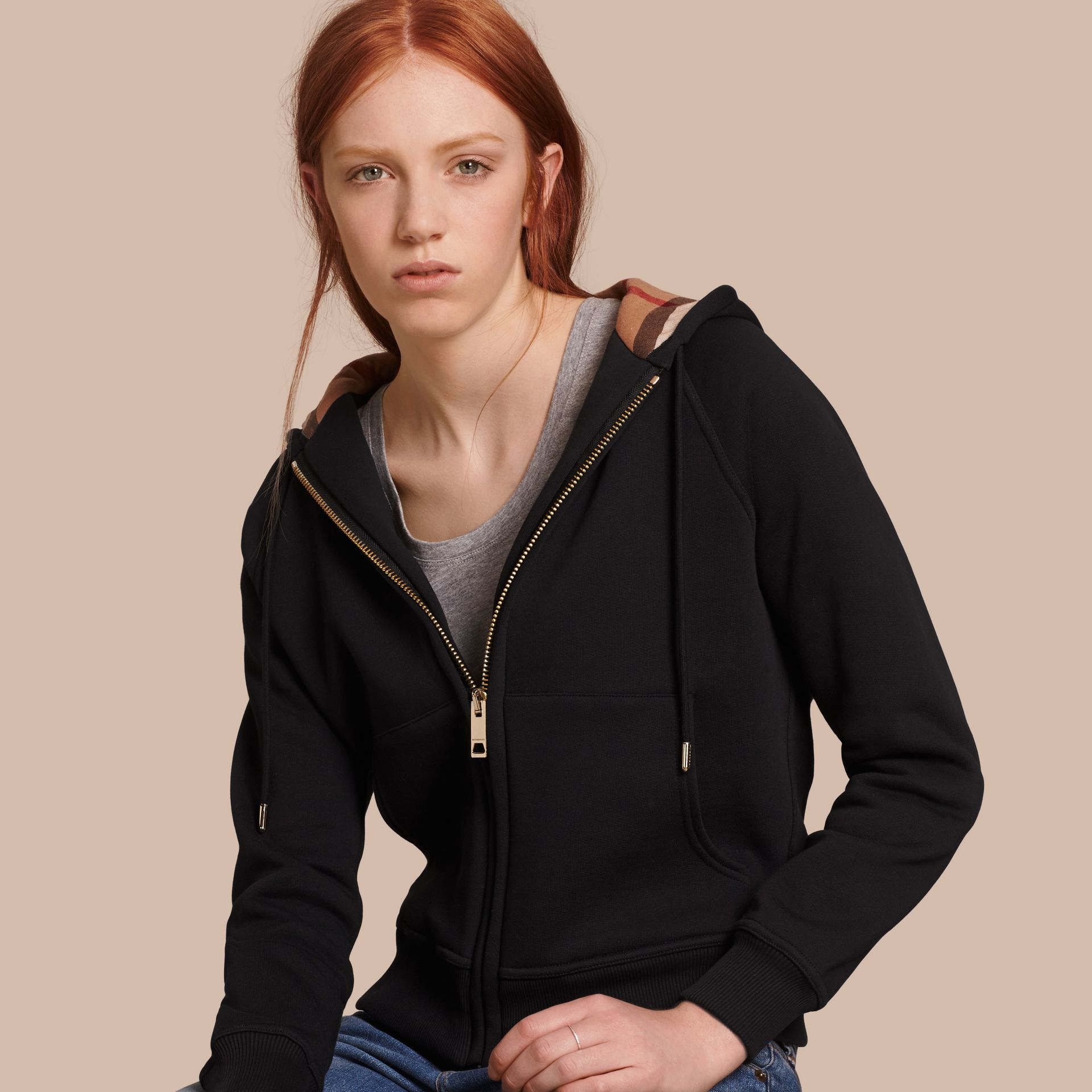 Hooded Zip-front Cotton Blend Sweatshirt in Black - gallery image 1