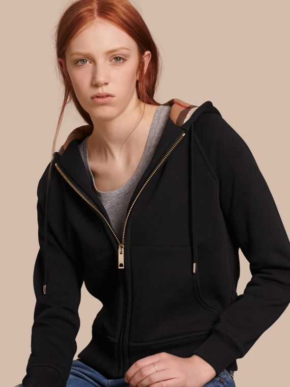 Hooded Zip-front Cotton Blend Sweatshirt in Black