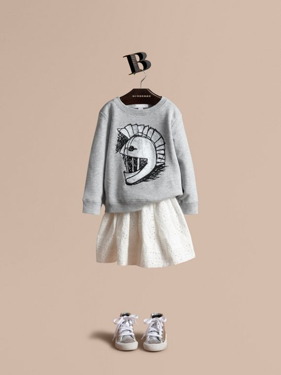 Pallas Helmet Motif Cotton Jersey Sweatshirt - Girl | Burberry Australia
