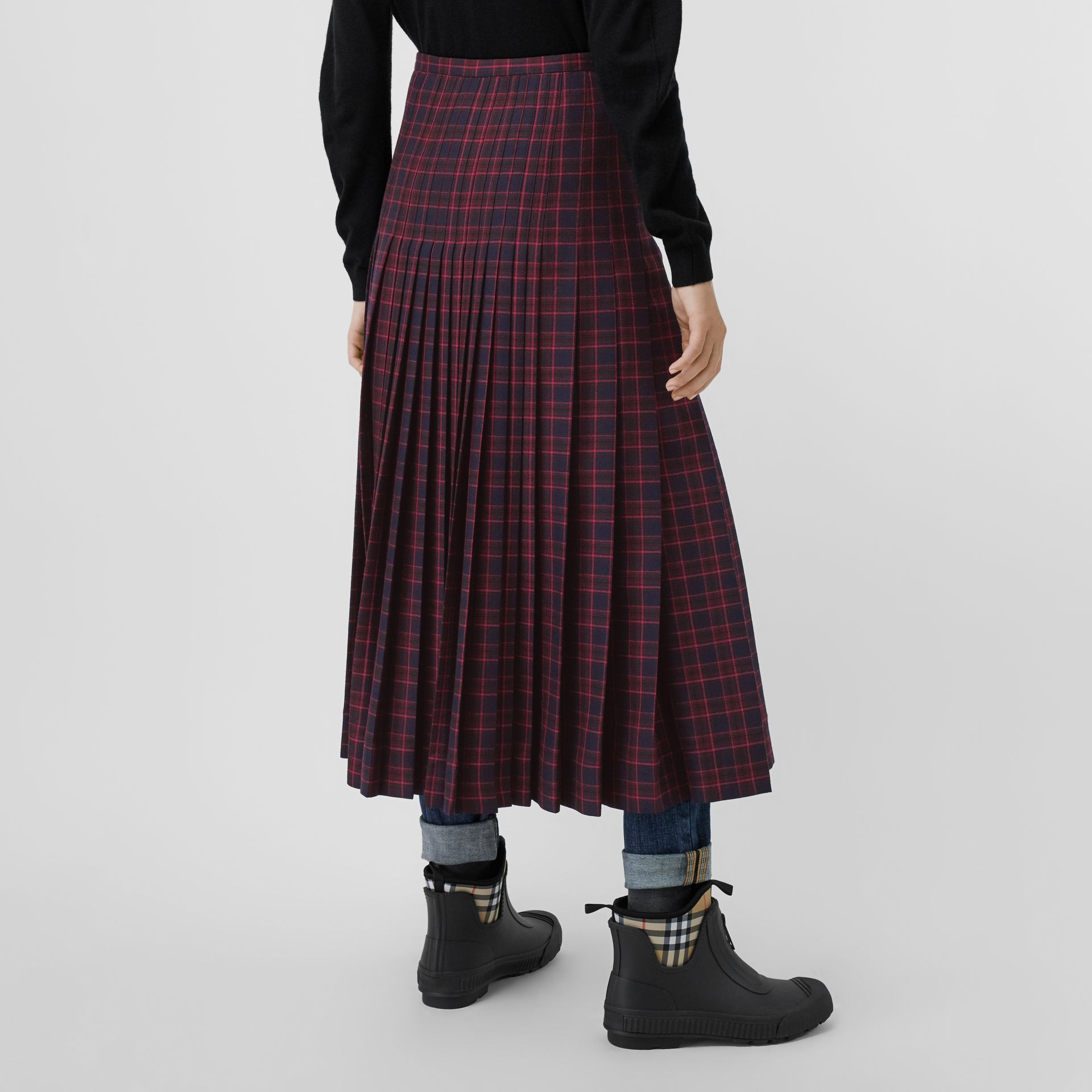 Tartan Wool Long Kilt in Navy - Women | Burberry - gallery image 1